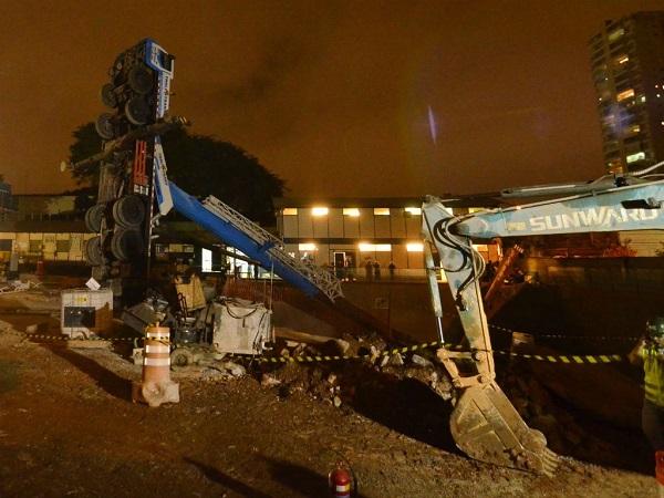Metrô informou que ninguém se feriu e a obra não foi prejudicada